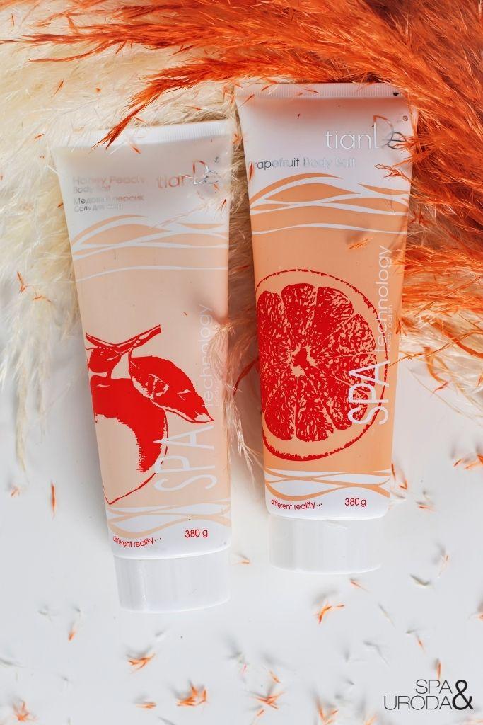 miodowo brzoskwiniowy i grejpfrutowy peeling solny