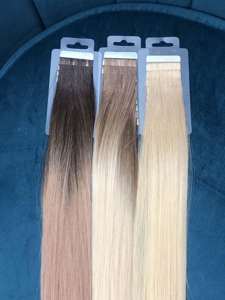 trzy odcienie włosów do przedłużania